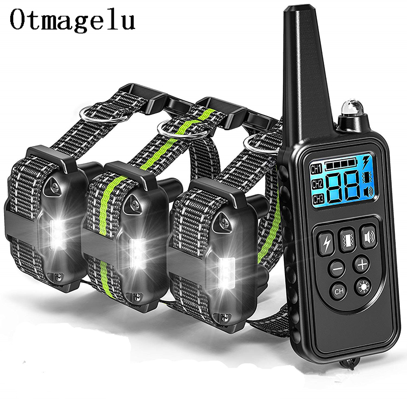 800m Waterproof and Rechargeable Electric Dog Training Collar with LCD Display with Remote Control or Shock and Vibration 10