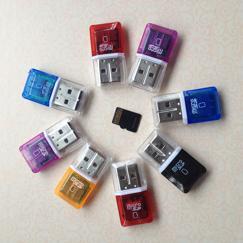 Portable Mini Diamond USB 2.0 Hi-Speed Micro SD SDHC TF Card Reader Random Color