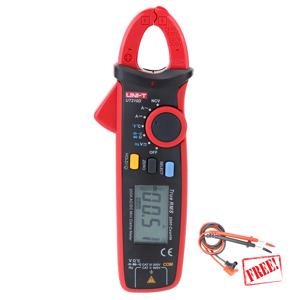 UNI T UT210D Clamp Meter Multimeter True RMS Auto Range 200A digital data show capacitance meter multimetro current clamp 1 GIFT uni t ut210d digital clamp meter ac dc current voltage meter true rms mini auto range multimetro digital multimeter