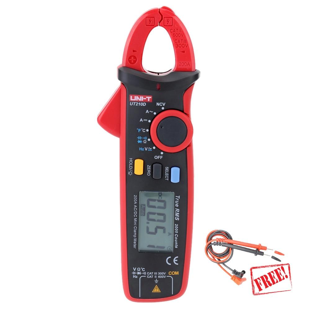 UNI T UT210D Clamp Meter Multimeter True RMS Auto Range 200A digital data show capacitance meter multimetro current clamp 1 GIFT