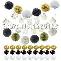 Chúc mừng Sinh Nhật Giấy Biểu Ngữ Cờ Latex Balloon Honeycomb Balls Paper Pom Poms Trắng Black & Gold Trang Trí