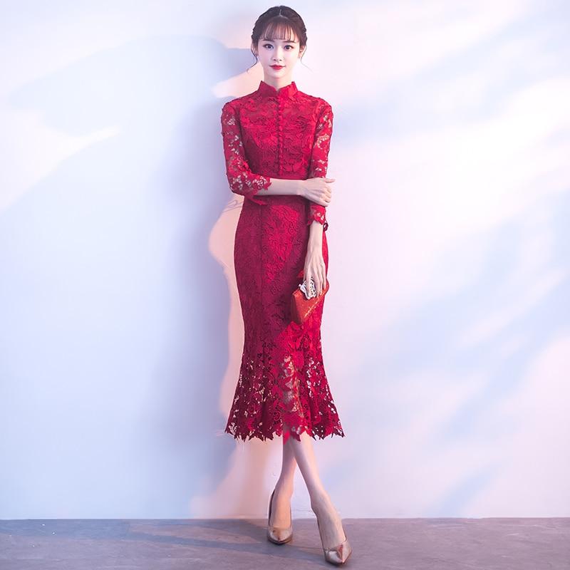 2018 Modern Cheongsam Lace Qipao Red Chinese Traditional Wedding Dress Eveing Dresses Robe Oriental Summer Women Sexy Flowers