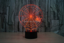 Free Ship Color changing Flashing Gossamer web Arcylic 3D spider LED Night Light touch sensitive cobweb USB Lamp