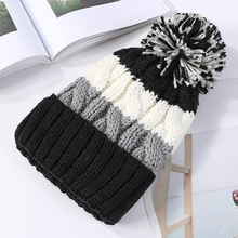 BINGYUANHAOXUAN Women Plush Lining Wool Ball Ski Beanie Cap Winter Warm Braided Crochet Knitting Mix-color Hat garment 2017 white unisex knitting wool crochet cap women warm winter outdoor hat beanie cap for lady