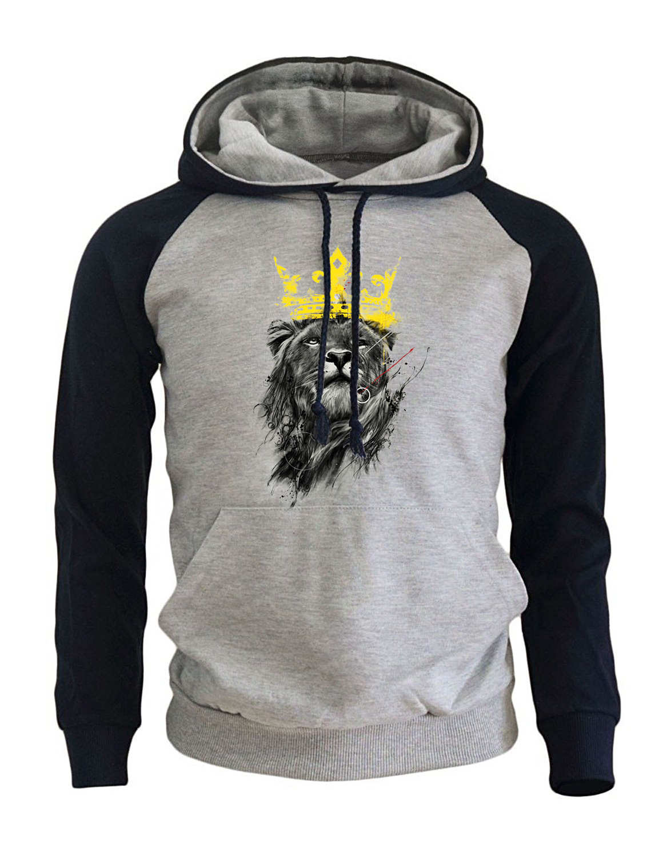 Fashion Streetwear Hoodie 2017 Autumn Winter Fleece Sweatshirt For Men Print King Of Lion Punk Kpop Raglan Hoodies Brand Hoody