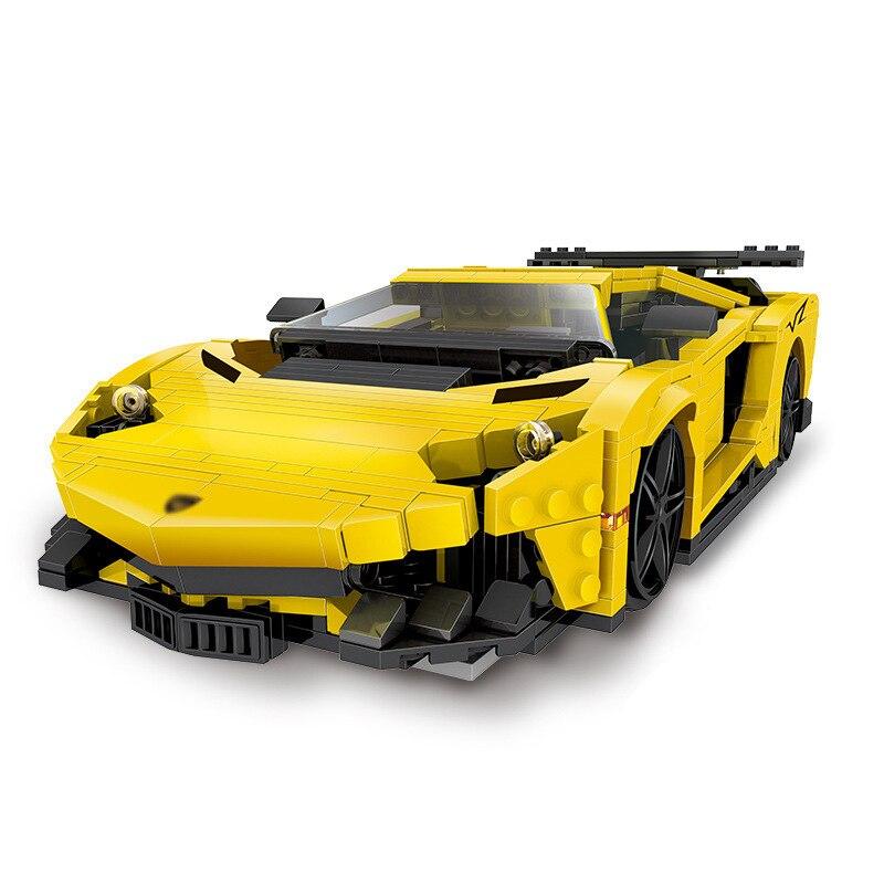 StZhou 924Pcs Creative MOC Technic Series The Yellow Flash Racing Car Set Educational Building Blocks Bricks Toys Model