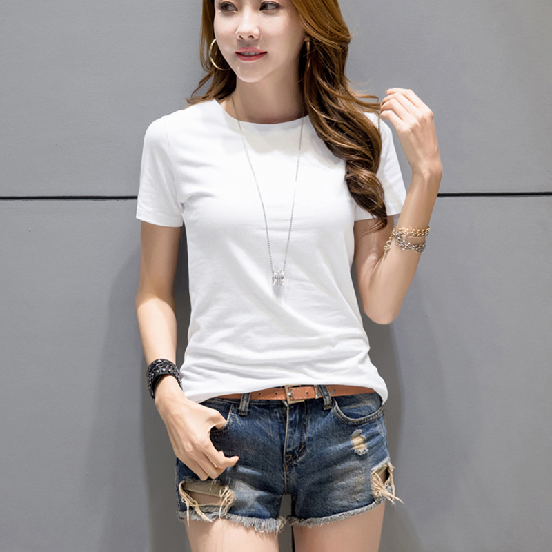 Women White T-Shirts 2019 Summer Tee Shirt Women Solid Color Casual White Short Sleeve O-Neck Ladies Tees Tops Female T Shirt