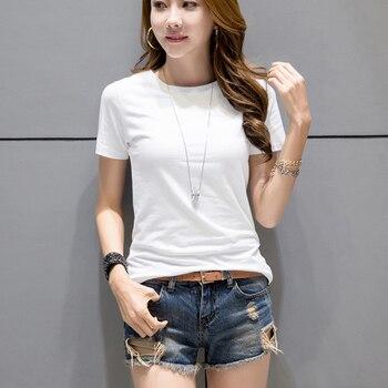 comprar online a4179 02710 Camisetas blancas para mujer 2019 camiseta de verano de Color sólido Casual  blanco de manga corta cuello redondo para mujer Camisetas de mujer camisa