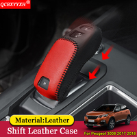 QCBXYYXH Car Styling Car Automatic Transmission Shift Leather Case Cover Decoration Auto Accessories For Peugeot 3008 2017 2018