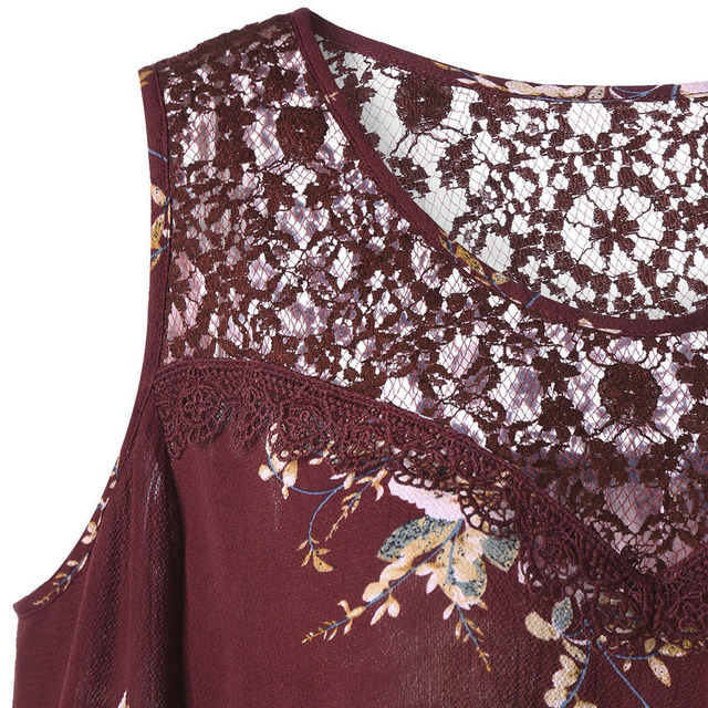 CharMma 2017 New Fashion Autumn 5XL Plus Size Floral Print Top Women Boho Lace Panel Cold Shoulder O-Neck Shirt Women Big Size