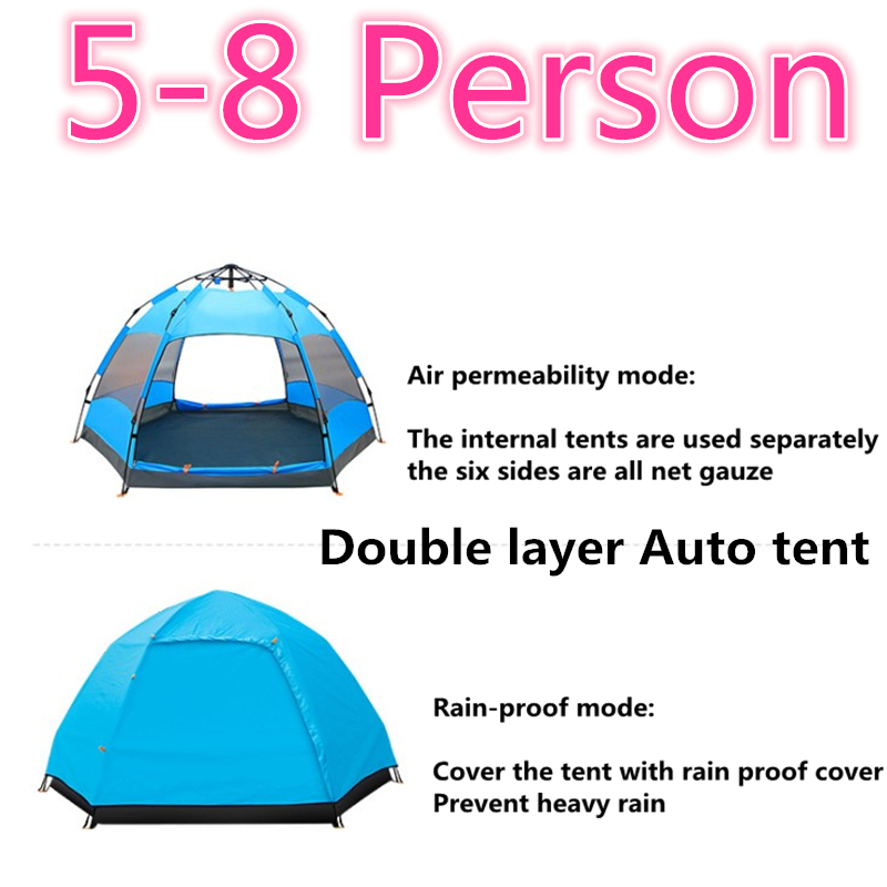 5-8 Person 270*270*150cm Double Layer Camping Auto Beach Tent Climbing Family Travel Hiking Urltra-Light Excursion Large Tents outdoor camping hiking automatic camping tent 4person double layer family tent sun shelter gazebo beach tent awning tourist tent