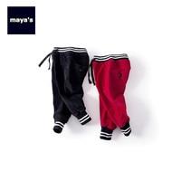 Mayas Cotton Fashion Winter Warm Boys Pants Kids Corduroy Black Autumn Basic Pants Girls New Soft 2019 Thickening Bottoms 81271