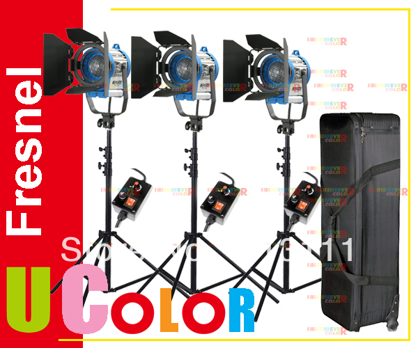 Nicefoto 3 X 650W Studio Fresnel Tungsten Dimmer Light Kit with Carrying Case