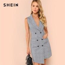 SHEIN สีดำและสีขาว Elegant Notch Collar Double Breasted Surplice Wrap Dress 2018 ฤดูร้อน Slim Modern Lady ชุดสตรี