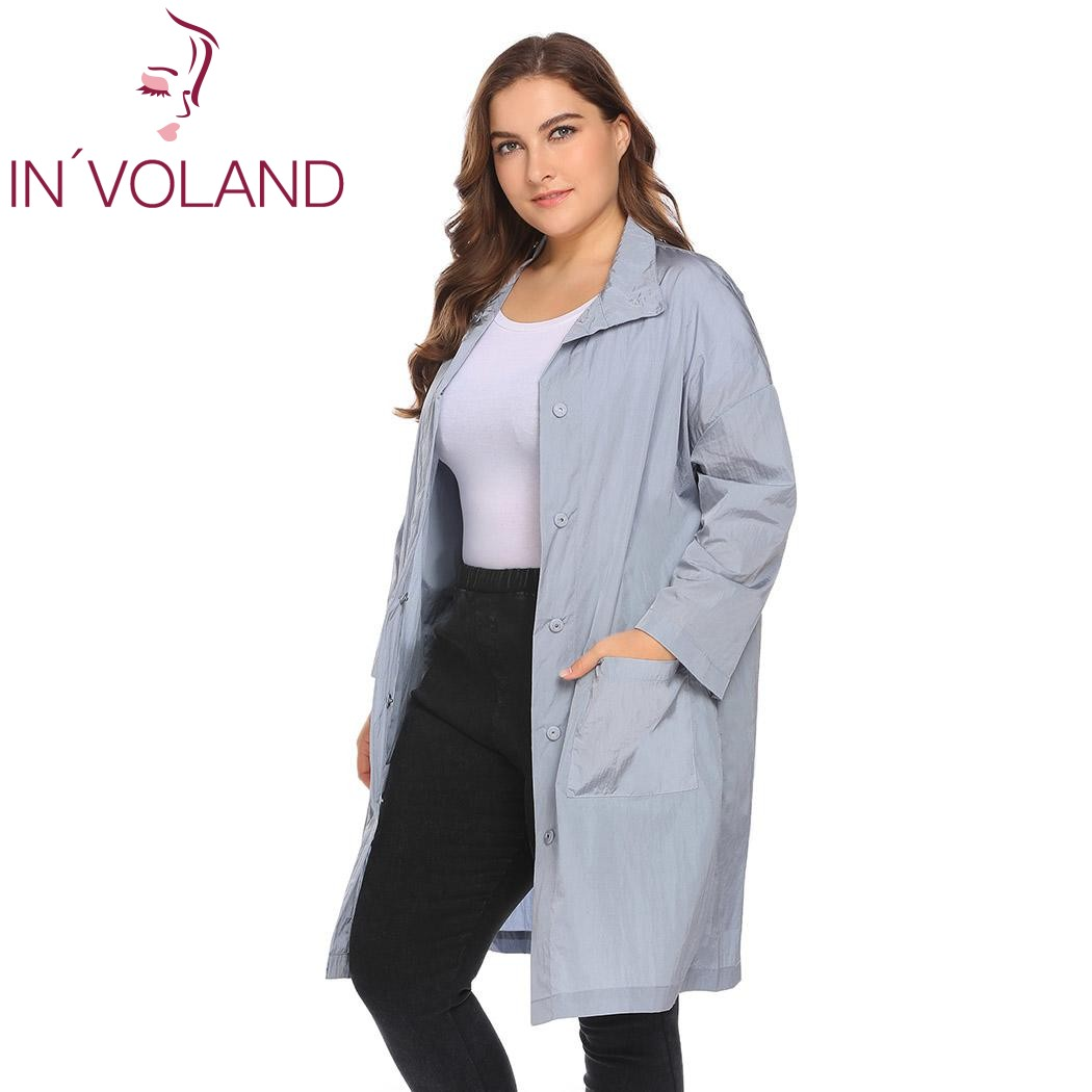 IN'VOLAND Women Long Jacket Plus Size L-4XL Spring Autumn Lightweight Casual Stand Neck Loose Big Solid Button Coat Large Size