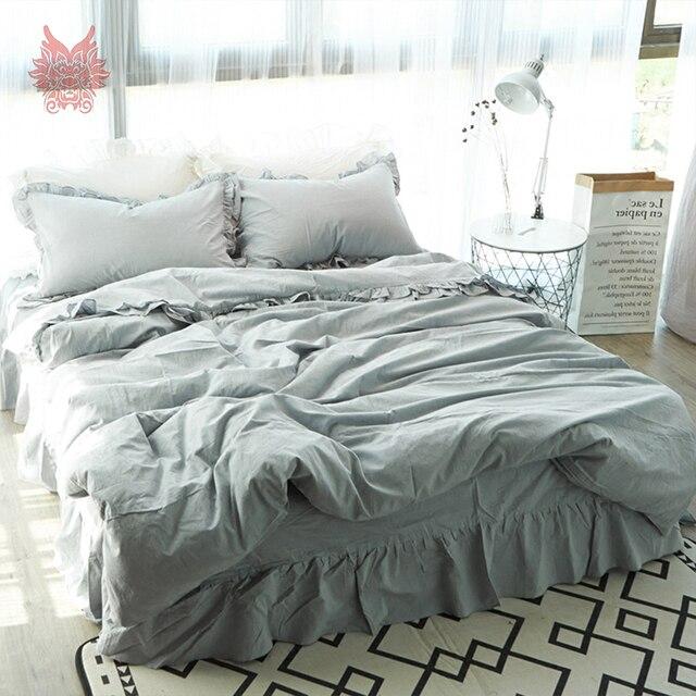 American Princess Style Blue Grey 3d Laciness Decor Bedding Sets 100