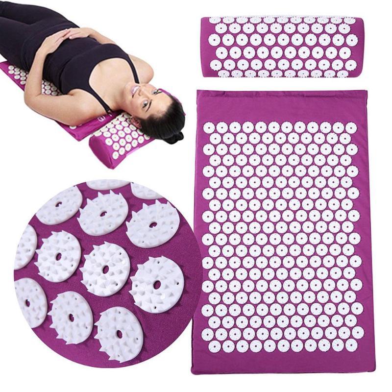 Массажный коврик для спины Акупрессура Массажер подушка для спины тело боль снимает Спайк Коврик акупунктурный Массажный коврик для йоги с подушкой