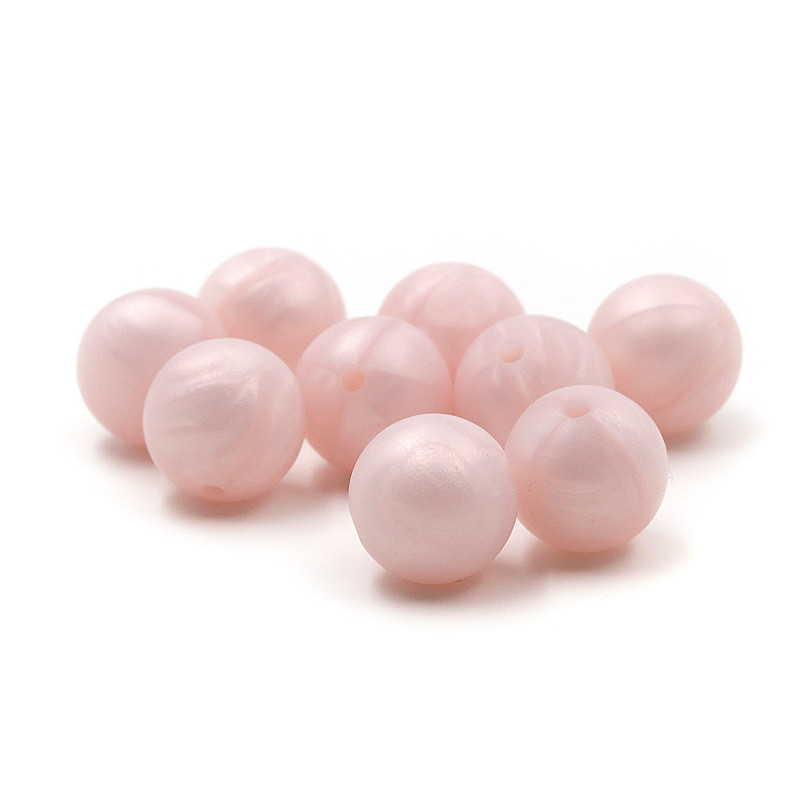 JOJOCHEW 100pcs 9mm-19mm Pearl Light Pink  Silicone Baby Teething Beads BPA Free Round Cuentas De Silicona Jewelry Handmade
