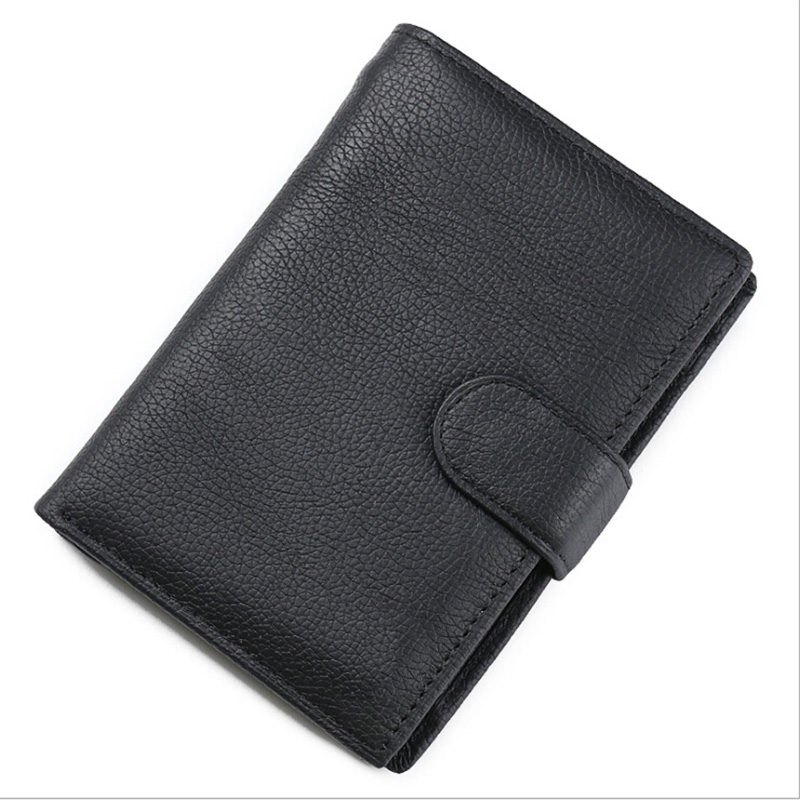 Hot Sell Cow Leather Business Card Holder Genuine Leather Men Wallets Multifunction Hasp Small Purse
