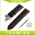 24mm Genuine Leather Watchband for Sony Smartwatch 2 SW2 Push Button Butterfly Buckle Watch Band Bracelet Strap Black Brown Red
