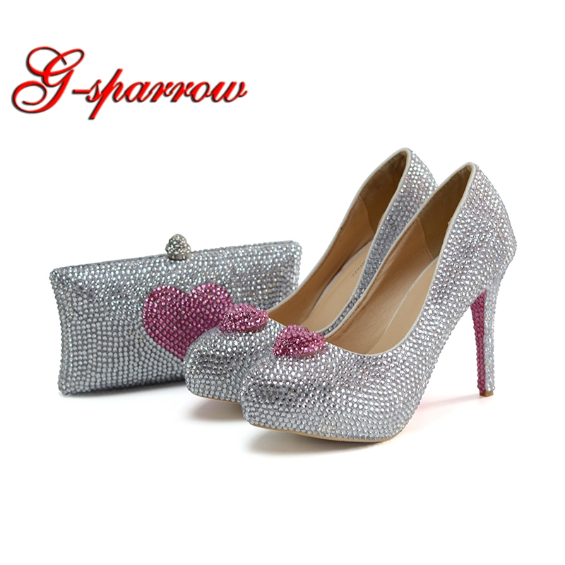 Silver Crystal Bride Shoes with Matching Bag Luxury Rhinestone Platform Bridal Wedding Prom Shoes with Purse Pink Heart Shape