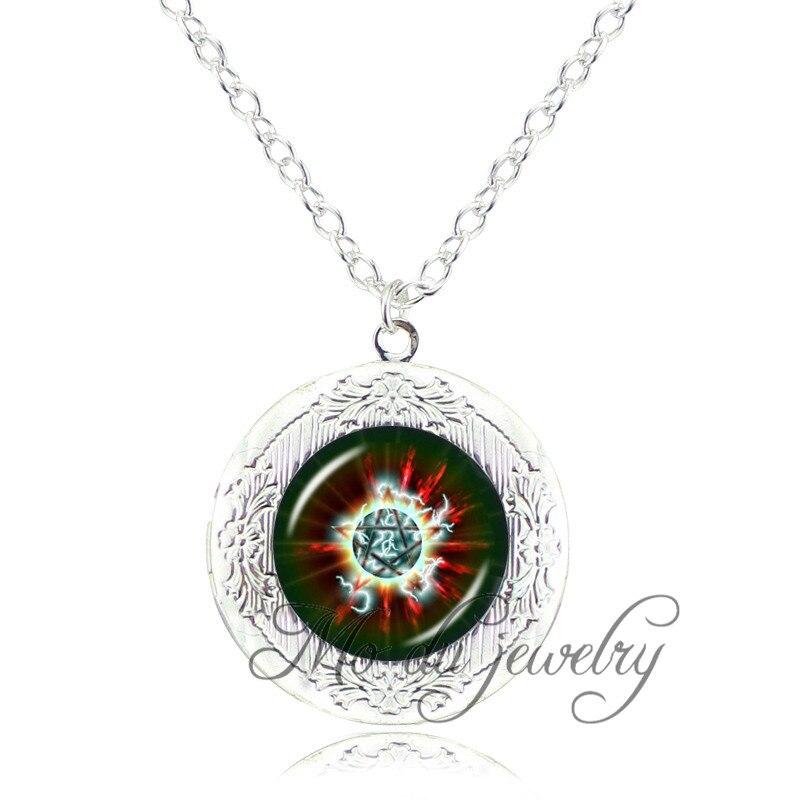 Personality Pentagram Glass Pendant Pentacle Necklace