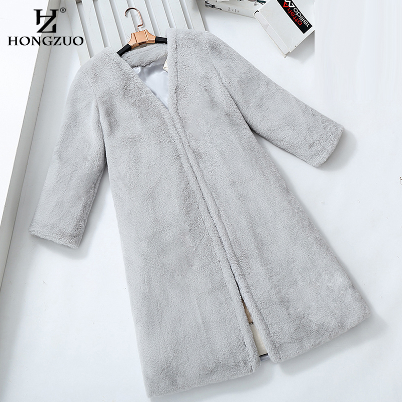 HONGZUO Brand 2017 Winter New Korean Style Fashion Women Rabbit Fur Coat Parka Thick Warm Long Faux Fur Coat Jacket PC176