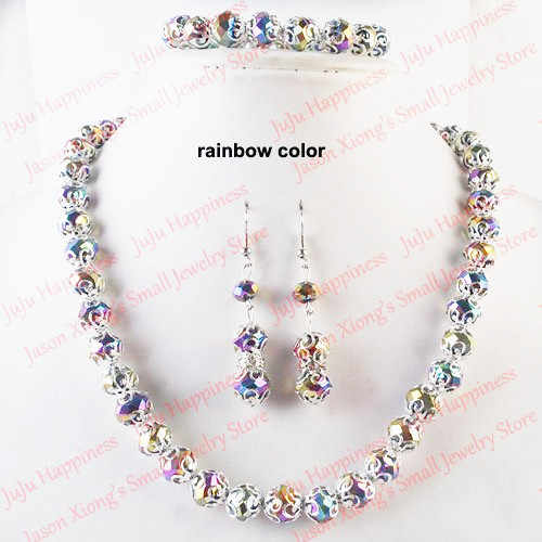 one set Handmade Rainbow Crystal Glass Beads Jewelry Set Necklace,Earring and Bracelet 246
