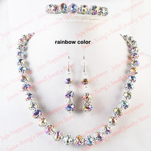 цены Free Shipping!Wholesale 3 Sets/Lot Handmade Rainbow Crystal Glass Beads Jewelry Set Necklace,Earring and Bracelet 246