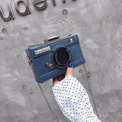 Design personalizado moda forma da câmera embreagem nubuck bolsa de ombro senhoras ocasional mini mensageiro bolsa