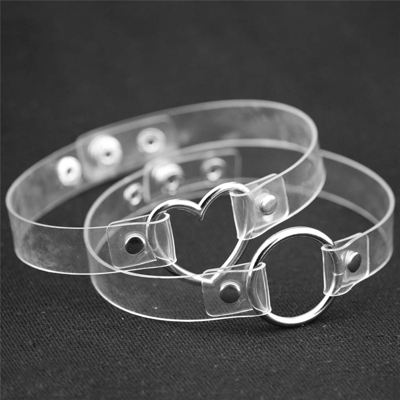 2 unids / set Kawaii Girls Fashion Jewelry Sweet Circle Heart Collares Gothic Leather Clear Choker Collar hecho a mano Punk Collar
