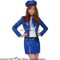 Blue With White Sexy Latex Hostess Uniform Sets With Hat And Tie Belts Rubber Dress LYQ 0078