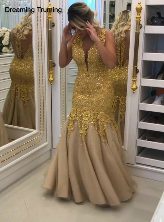Gold   Prom     Dresses   2019 Illusion Back Deep V-Neck Formal Long   Dress   with Lace Appliques Women Formal Party Evening Gowns