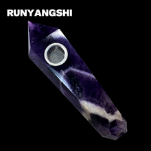 Amethyst with White Lines Smoking Pipe Natural Stones and Minerals Strainer Smoke Runyangshi YM14