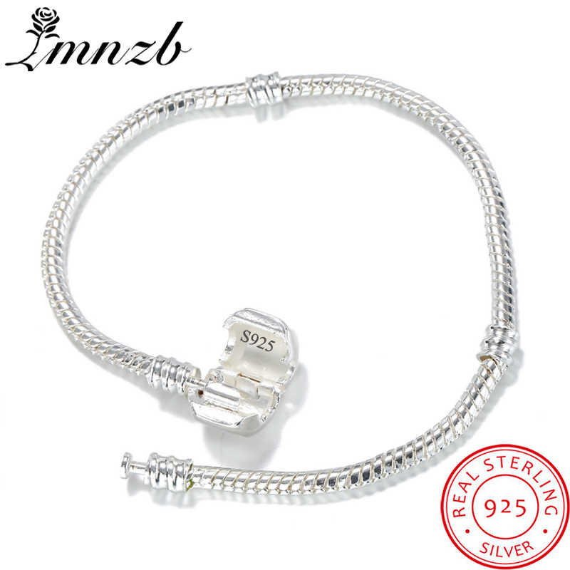 LMNZB High Quality Authentic 925 Silver Snake Chain Fine Bracelet Fit Original Charm Bracelet Gift for Women DIY Jewelry Making