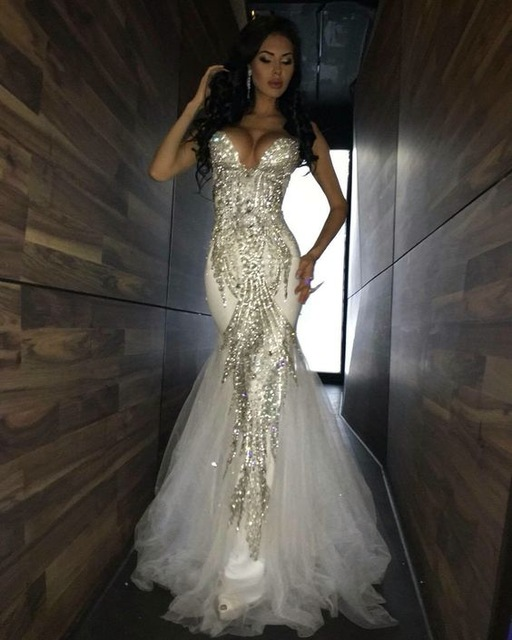 2017 Luxury Bling Sparkle Prom Dress Evening Dress Mermaid