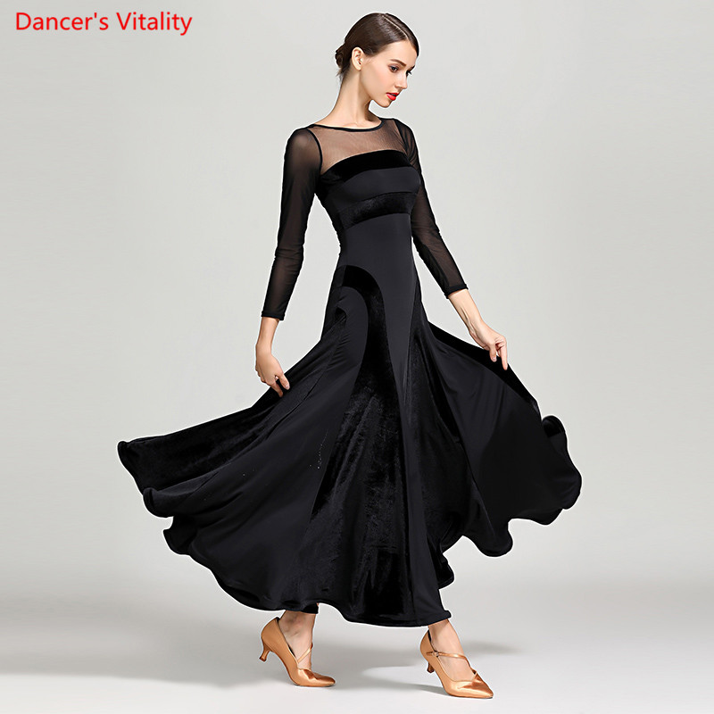 Fashion Ballroom Dance Dress Autumn Winter Velvet Warm Big Swing Dresses Women Ballroom Waltz Tango Dance Practice Costumes