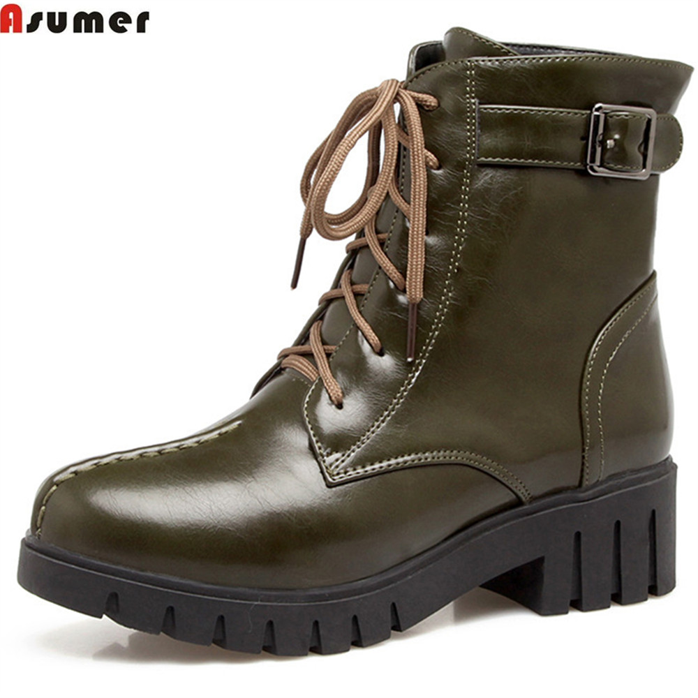 Asumer fashion autumn winternew arrive women boots round toe ladies boots square heel lace up black army green ankle boots