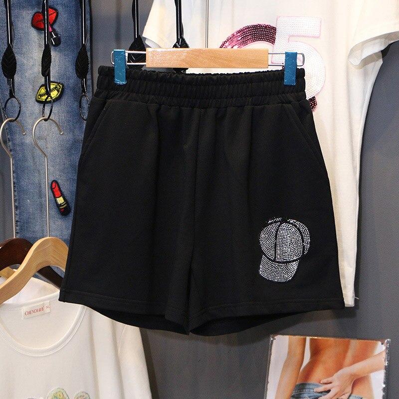 Hot Drilling Plus Size Shorts Women 2020 Summer All-match Leisure Loose Motion Shorts Elastic Trouser Loose Waist Hot Short
