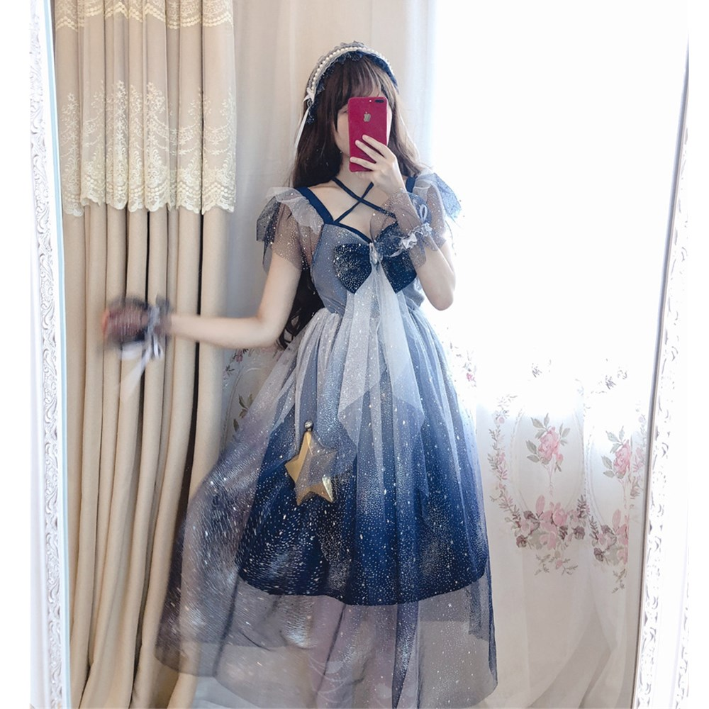 Lolita Starry sky Mesh dress Sailor Moon Big bow Sling dress Blue and white gradient Cute Girl