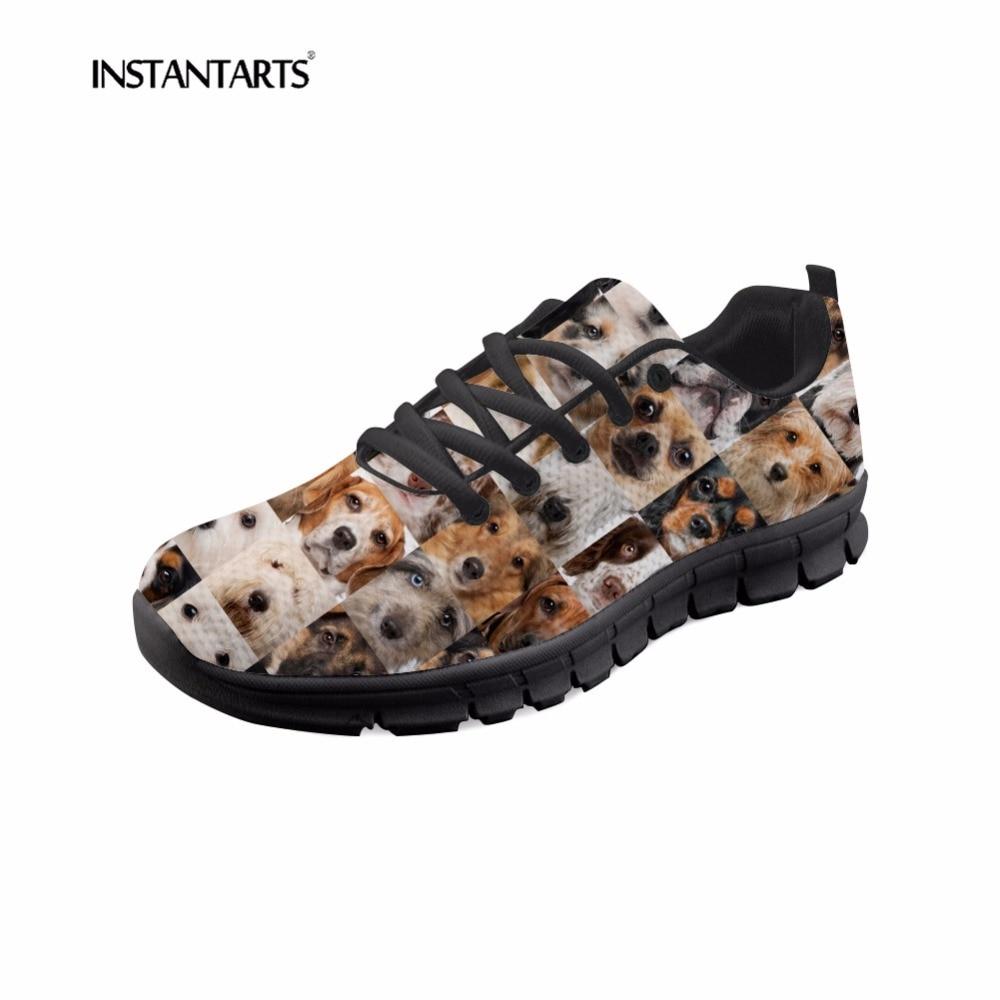 INSTANTARTS Cute Dog Puzzle Women Flats Shoes Summer ...