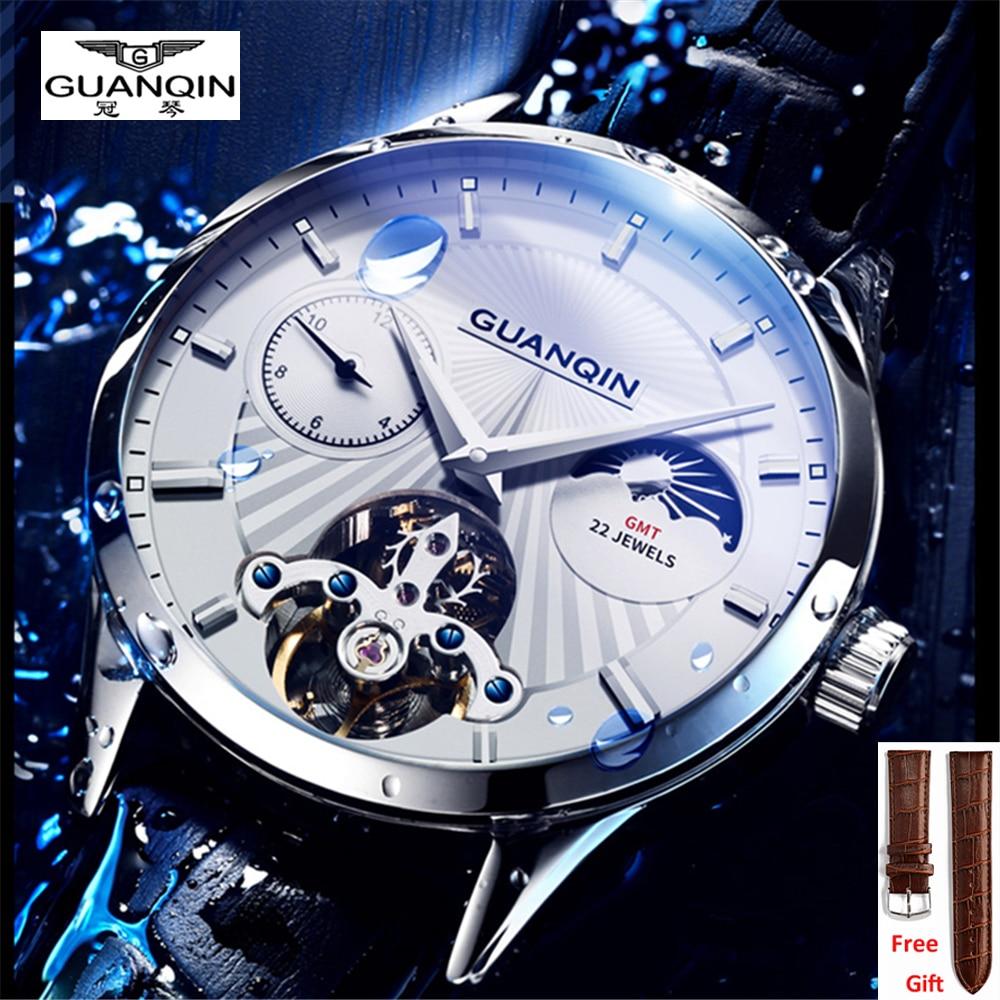 GUANQIN Original Men's Automatic Mechanical Watch 5AMT Waterproof multi-time zone Luxury automatic flywheel movement men Watches