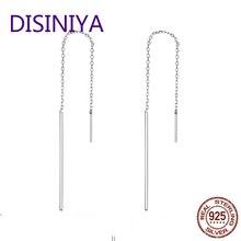 DISINIYA  Elegant new Genuine 925 sterling silver drop Earrings for Women simple line real Silver Jewelry gift sce490