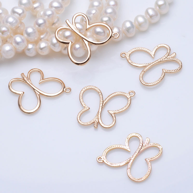 6PCS 19x17MM 24K Champagne Gold Color Plated Brass Butterfly Charms Pendants High Quality Diy Jewelry Accessories