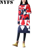 NYFS 2018 New Style Spring Autumn Women Long Dress Vintage Slim Knitted Sweater Dress Vestidos Robe