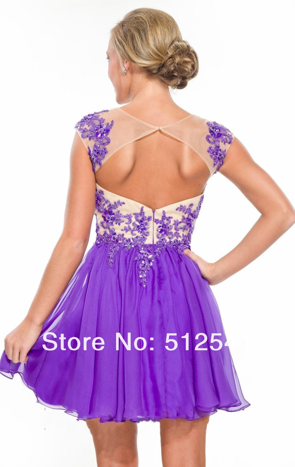 a87eb210b9b Hot Sale Cap Sleeve Purple Beaded Applique Short Homecoming Dresses 2015 8  Grade Graduation Dresses For Girls Party Gown on Aliexpress.com