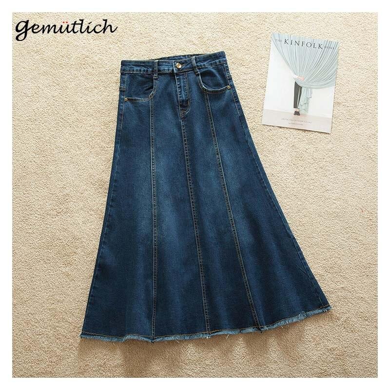 GEMUTLICH Plus Size S-9XL Women Denim A-line Long Skirt Jeans Bodycon Elasticity Casual Skirt Fashion New