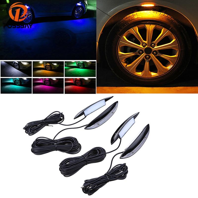 POSSBAY 4x Black Car Auto Fender Flares Light Decor Wheel Eyebrow Under LED Arch Atmosphere Lamp Tire RGB Lights