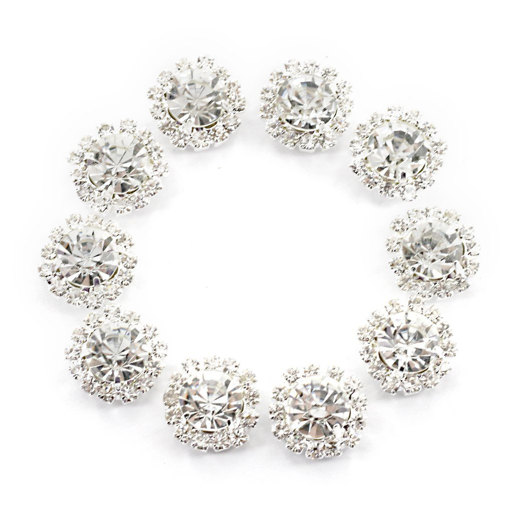 PACK OF 2 LARGE CRYSTAL RHINESTONE BUTTON SHANK BK BROOCH BOUQUET TIARA MAKING