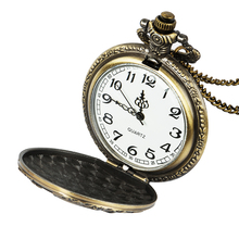 Vintage bronze steampunk pocket watch Roman digital quartz necklace & chain motorcycle shaped clock